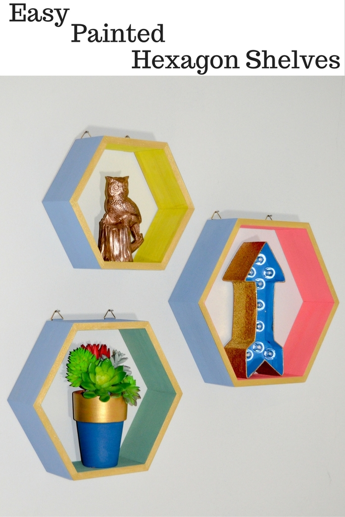 Easy Painted Hexagon Shelves