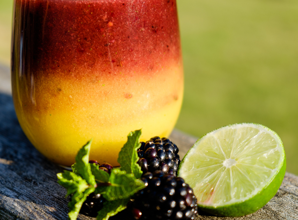 Mango Blackberry Mint Margarita