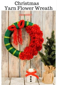 Christmas Yarn Flower Wreath