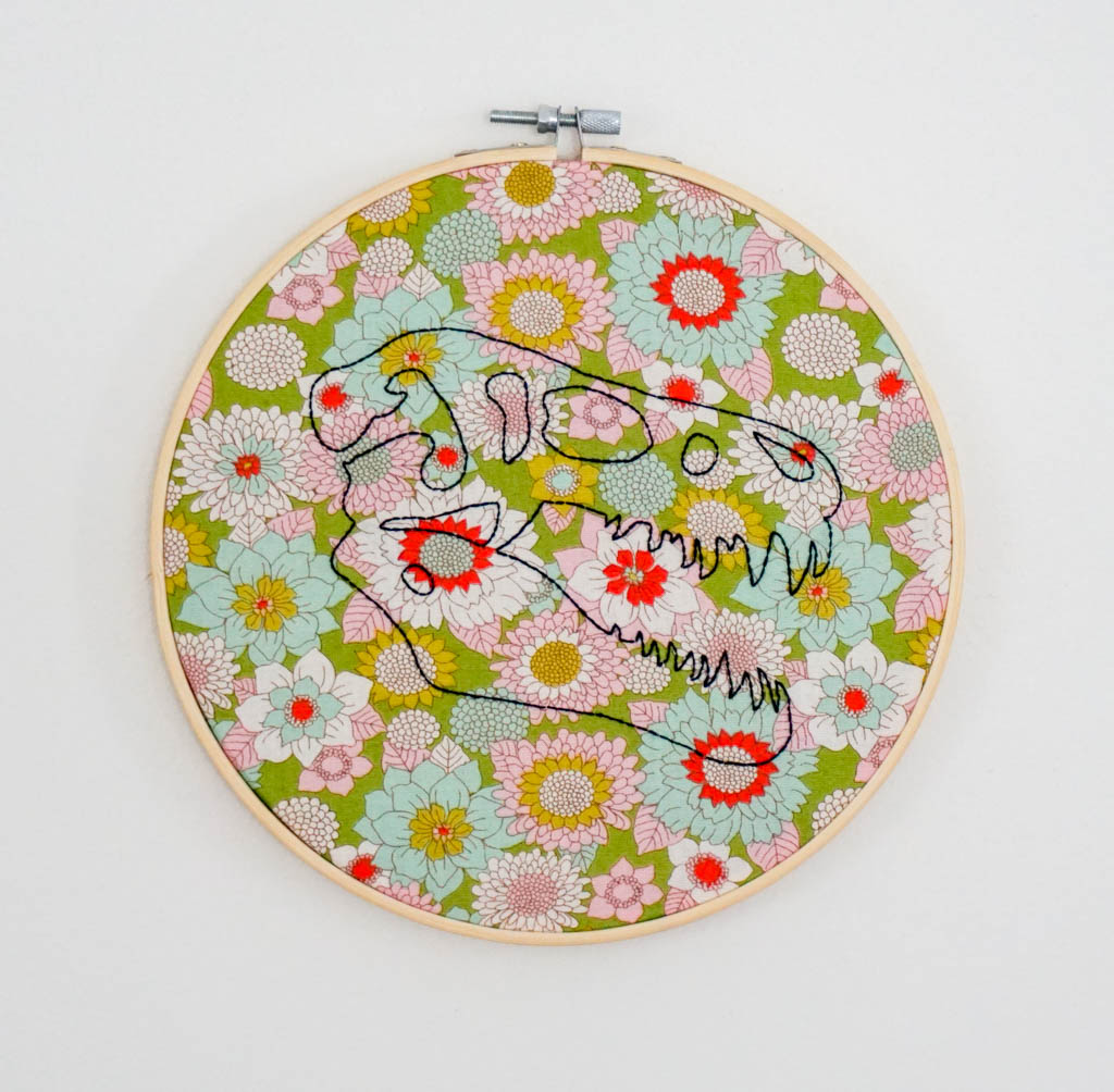 T-Rex Skull Embroidery Hoop