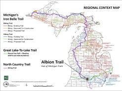 Albion - a hub of trails. See how the North Country Trail, the Iron Belle Trail, and others converge in Albion.