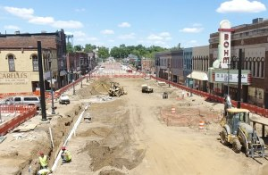 Construction on Superior Street Albion June 8, 2017
