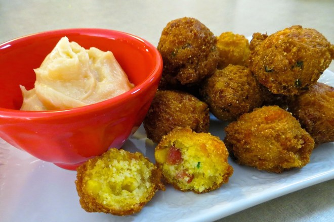 Bacon Cheddar Jalapeno Corn Fritters with Honey Butter