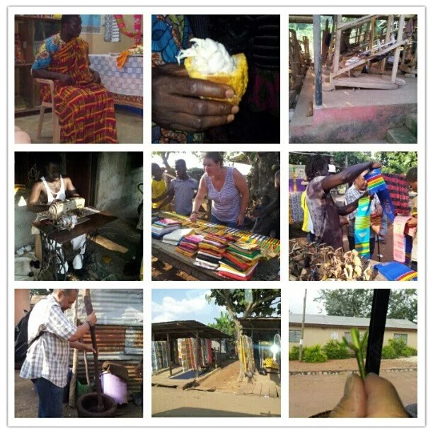 A long day and at least 1 hour still to get back to the hotel. We have been in Kumasi, the Open Air market, the Kente weaveri, the wooden carvings and also made our own pattern on kente cloth. Today we have all bought really nice things.