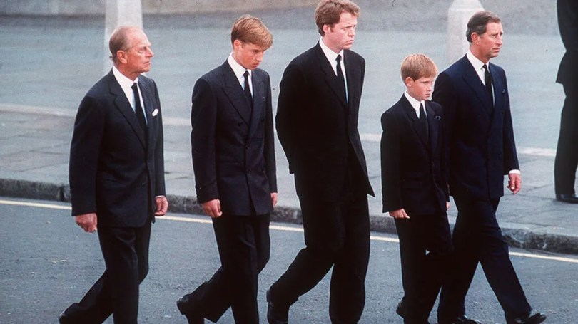 The entourage consisted of Prince Philip, Charles, Charles Spencer, William, and Harry.
