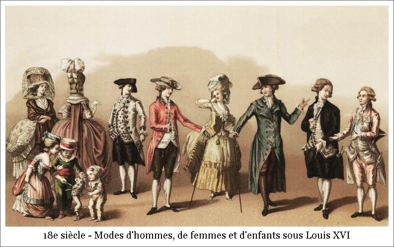 18e siècle – Modes d'hommes, de femmes et d'enfants sous Louis XVI
