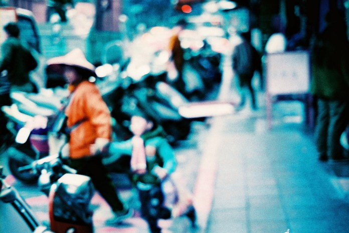 School-run - Lomochrome Purple XR 100-400 shot at EI 400. Color negative film in 35mm format.