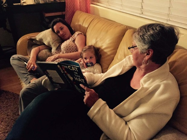 Nana reading to L.L. and Momma...we were tired.