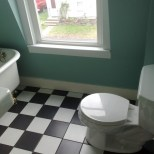 Tiny bathroom from doorway