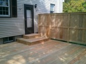 Deck with privacy fence - two step landing