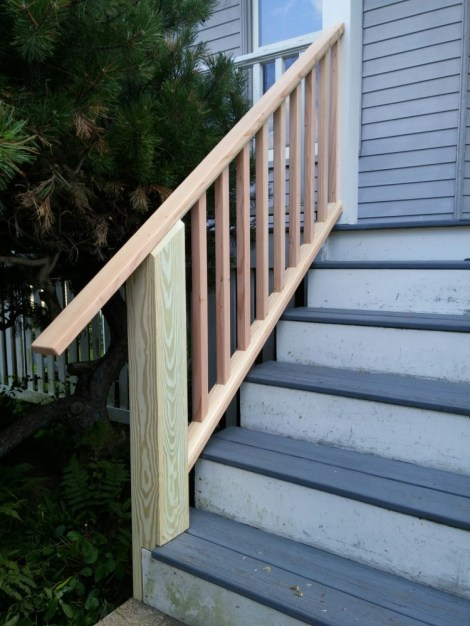 Railing milled from Douglas fir to match the existing rail