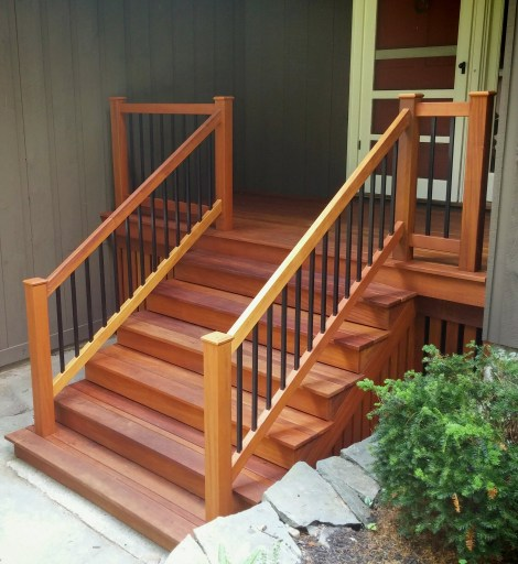 Garapa porch after stain application