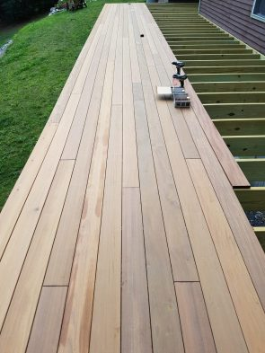 Decking installation in progress. This deck was installed with Ipe clip hidden fasteners from Deckwise.