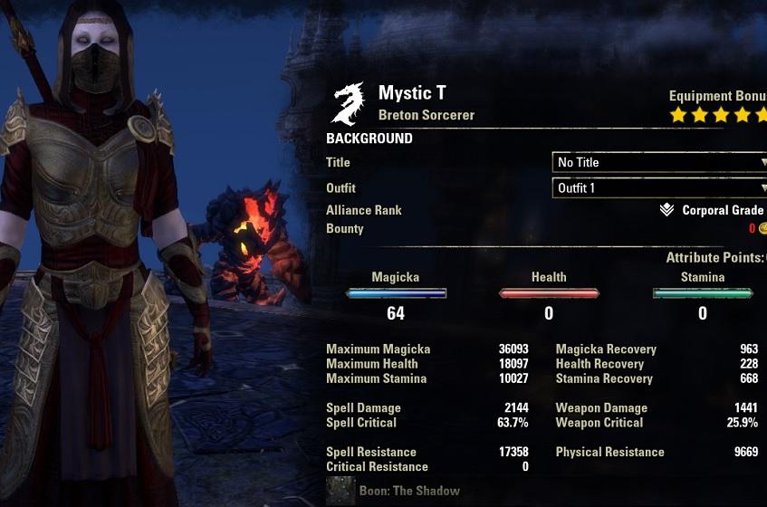 Magicka Sorcerer build pve unbuffed MysticDH