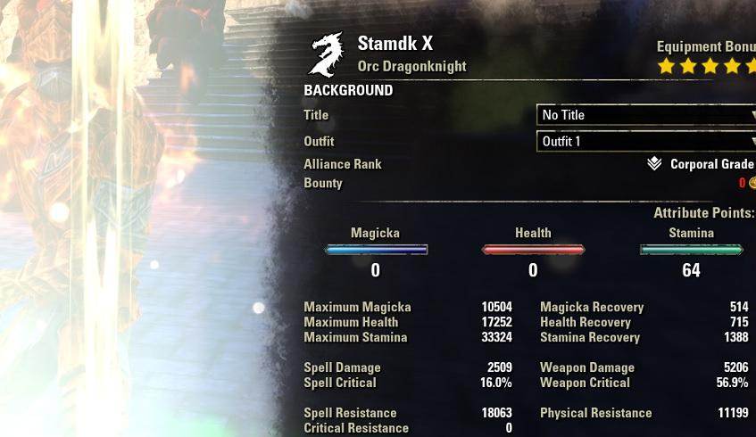 Stamina Dragonknight 2h Build PvE buffed stats