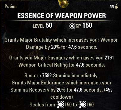 Weapon Power Potions