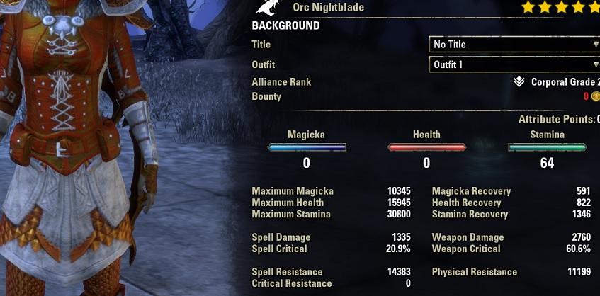Stamina Nightblade Bow Build Focus unbuffed stats