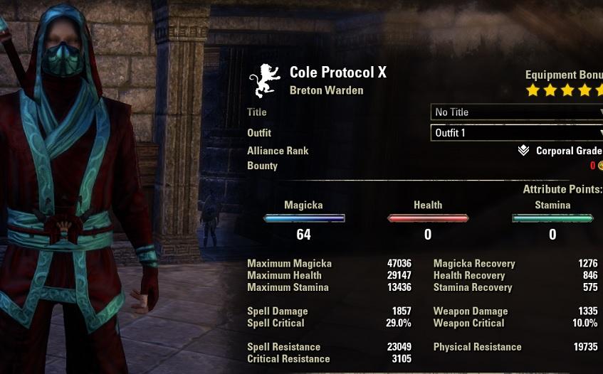 Frostcloak Magicka warden pvp build stats unbuffed