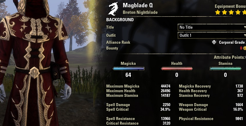 Leech magicka Nightblade pvp build unbuffed stats