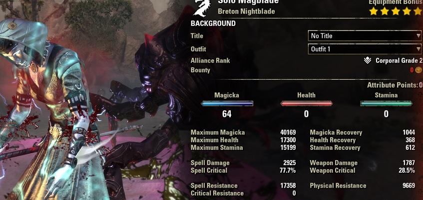 Solo magicka nightblade buffed stats eso