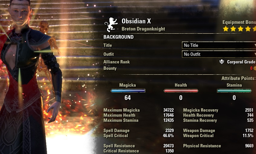 Magicka Dragonknight HEALER Build buffed stats ESO