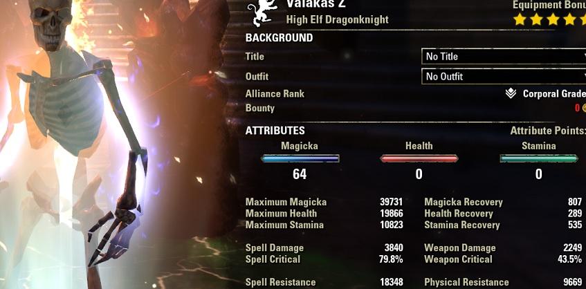 Magicka Dragonknight pve dps build META buffed stats ESO
