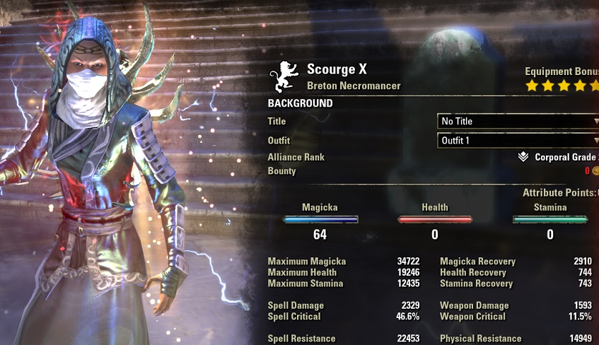 Magicka Necromancer HEALER Build buffed stats ESO