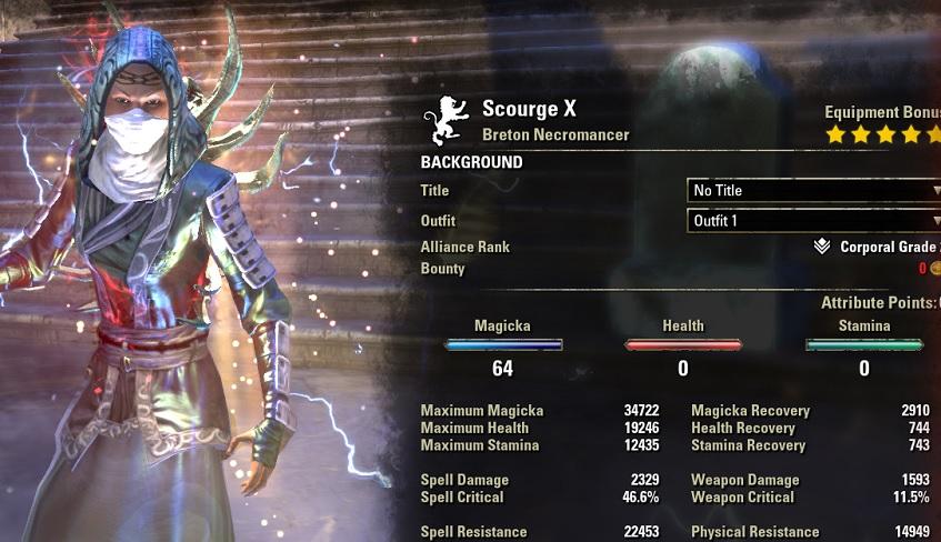 Magicka Necromancer HEALER Build buffed stats ESO