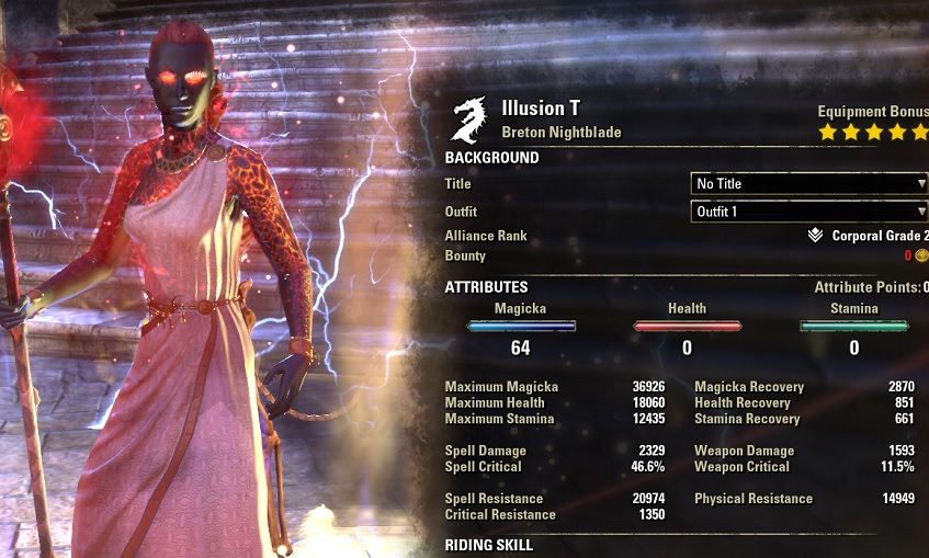 Magicka Nightblade Healer Build buffed stats ESO