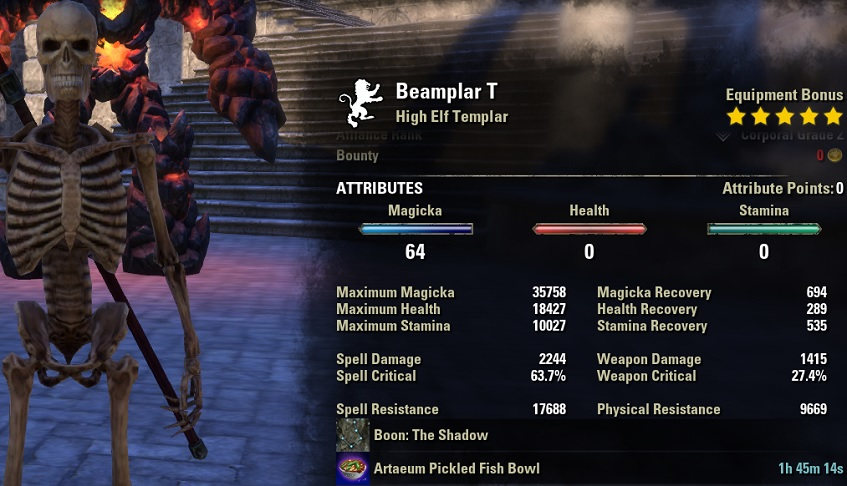 Magicka Templar pve build META unbuffed stats ESO