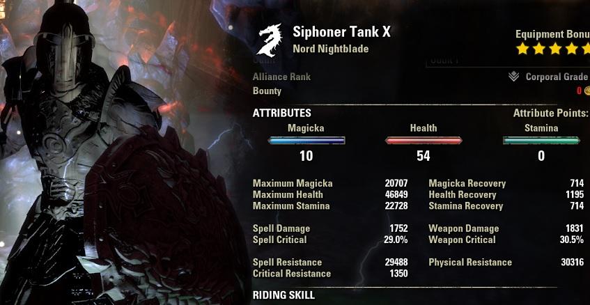 Nightblade Tank Build stats buffed ESO