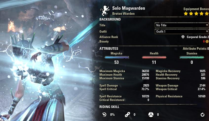 Solo Magicka Warden Build stats buffed