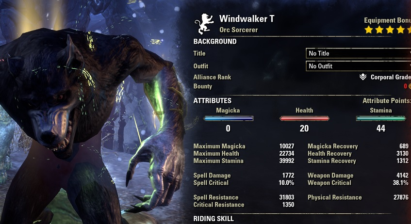 Solo Werewolf Heavy Armor Health Recovery Build ESO buffed stats