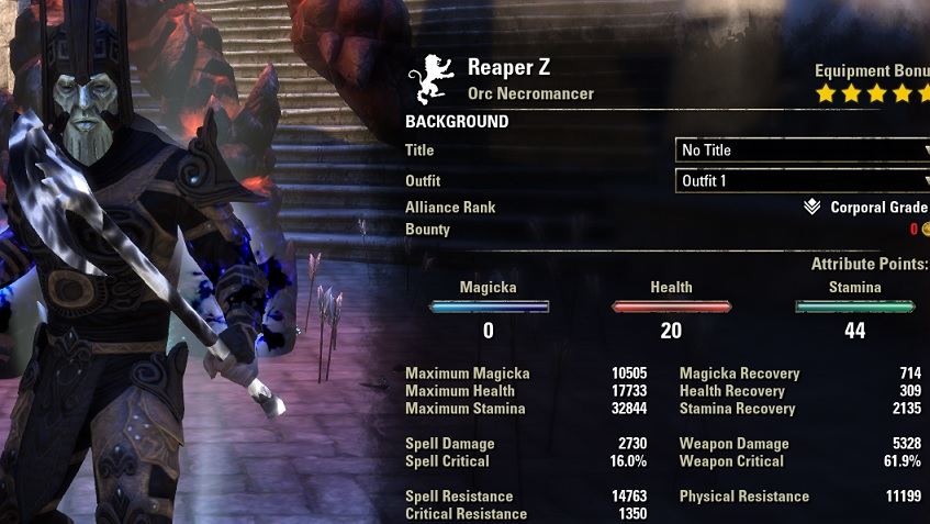 Stamina Necromancer PvE Build META buffed stats ESO