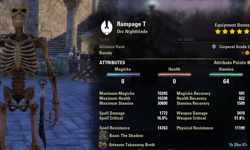 Stamina Nightblade pve build META unbuffed stats ESO