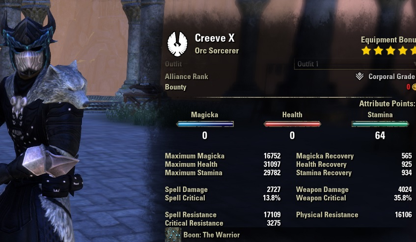 Stamina Sorcerer PVP Build unbuffed stats ESO