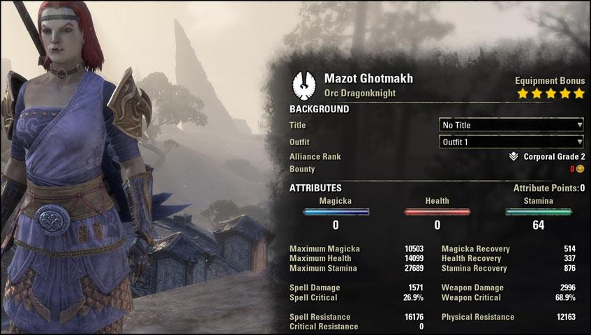 character stats stamina dragonknight