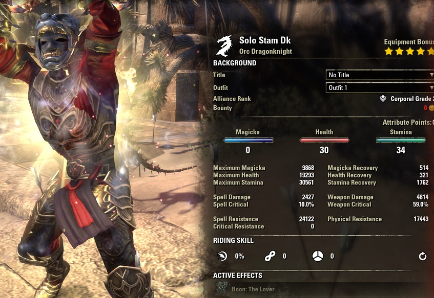 Solo Stamina Dragonknight PvE Build buffed stats