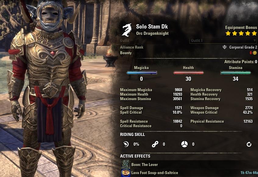 Solo Stamina Dragonknight PvE Build unbuffed stats