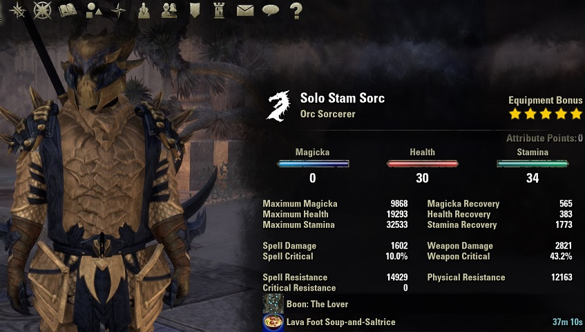 Solo Stamina Sorcerer Build PvE unbuffed stats