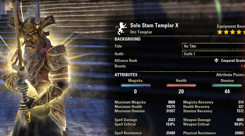 Solo Stamina Templar Build PvE buffed stats ESO