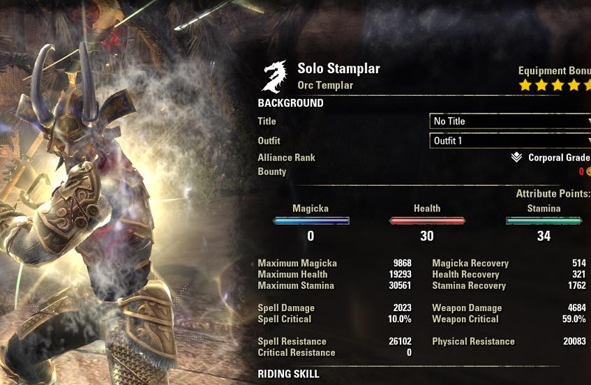 Solo Stamina Templar PvE Build buffed stats