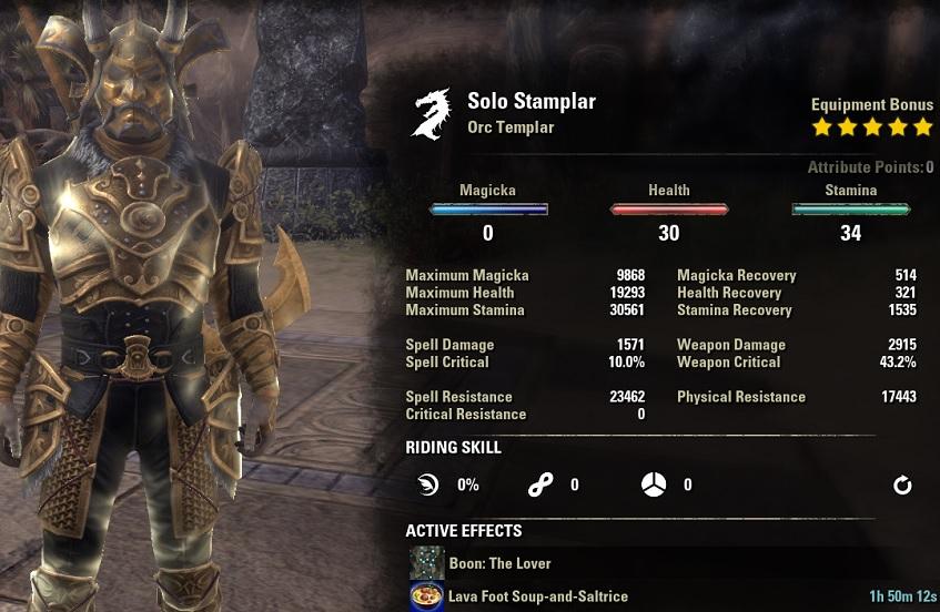 Solo Stamina Templar PvE Build unbuffed stats