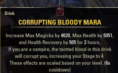 Corrupting Bloody Mara Drink buff food ESO