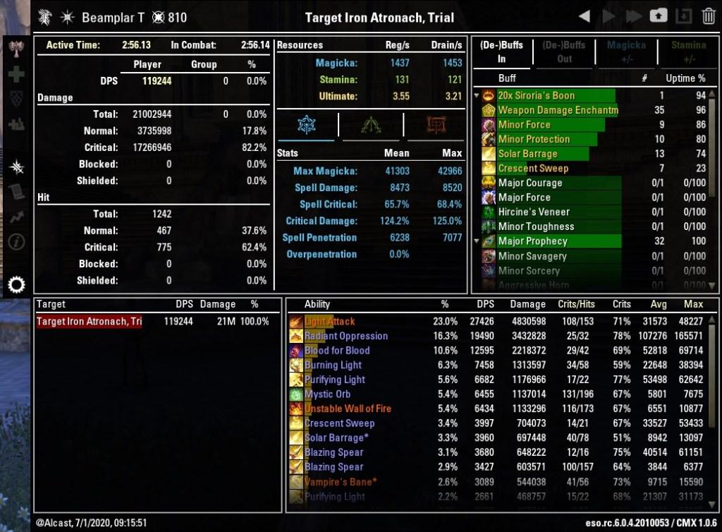 Magicka Templar 119244 DPS Test