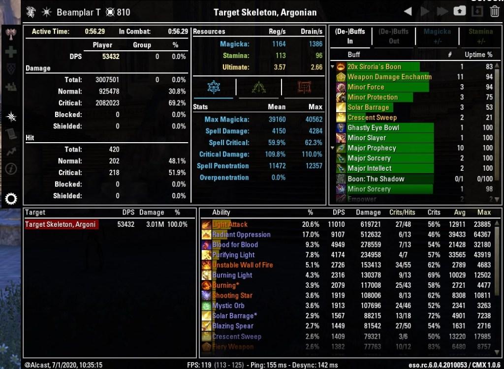 Magicka Templar 53432 DPS Test