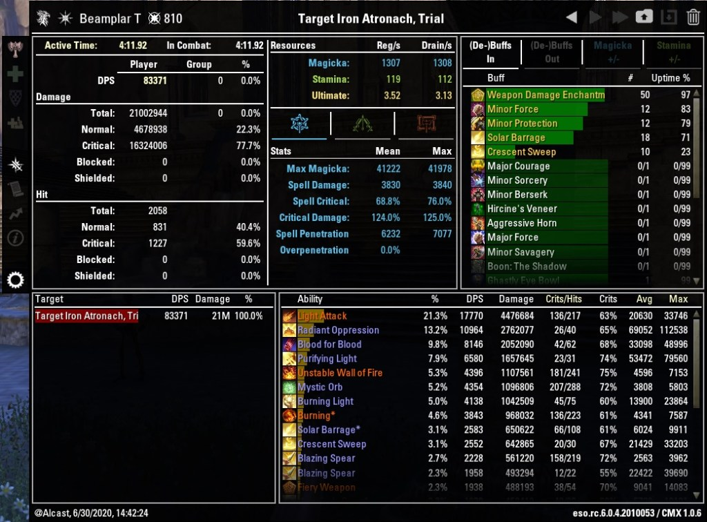 Magicka Templar 83371 DPS Test