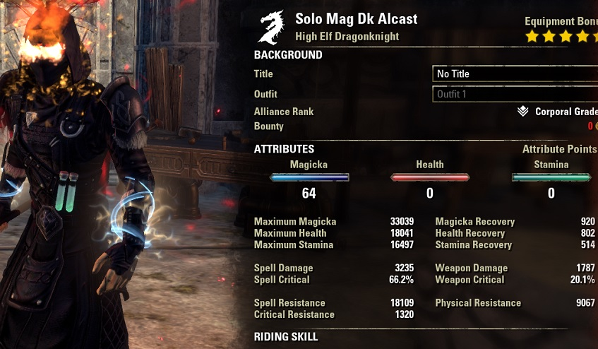 Solo Magicka Dragonknight Build buffed stats ESO