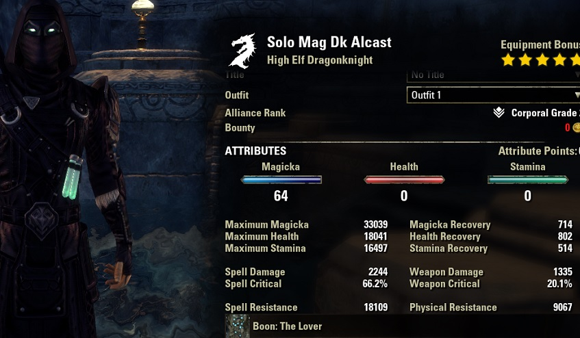 Solo Magicka Dragonknight Build unbuffed stats ESO