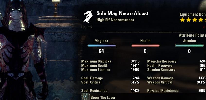 Solo Magicka Necromancer unbuffed stats ESO